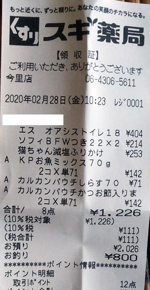 スギ薬局 今里店 2020/2/28 のレシート