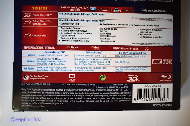 Realizamos un análisis y un reportaje fotográfico del BD Steelbook 3D+2D + Disco de extras de Vengadores: Endgame.