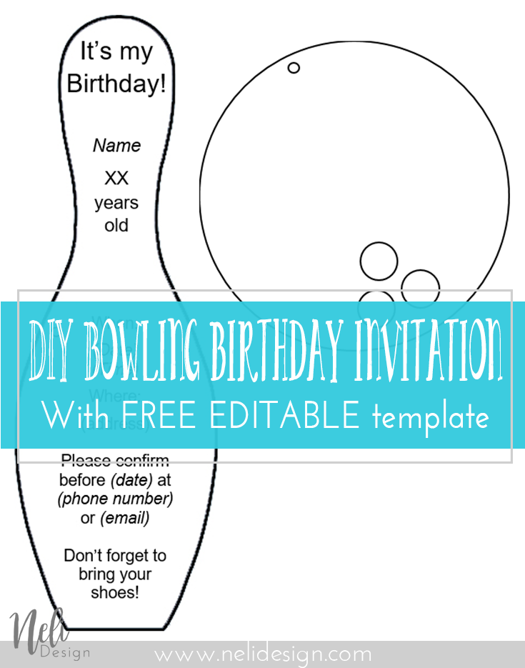 Bowling | party | invitation | Printable | template | free | DIY | easy | kids | birthday