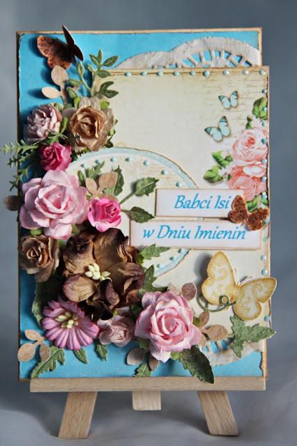 kartka warstwowa, kartka urodzinowa, Magiczna Kartka, Wyspa Motyli, Kartka imienionwa dla babci