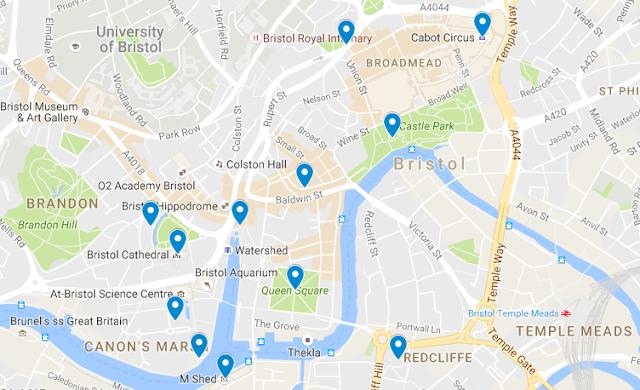 mapa con los lugares de interés en Bristol