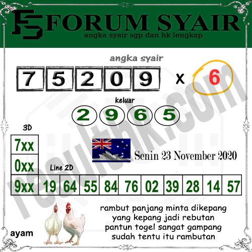 Forum Syair Sidney Senin 23 November 2020