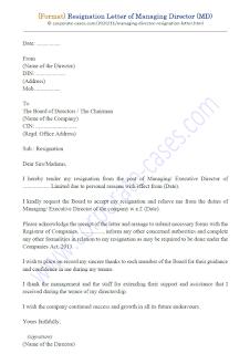 format of resignation letter of managing director