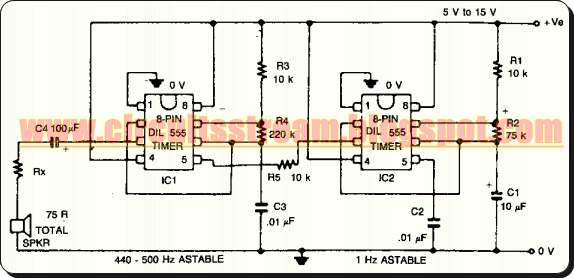 Simple Warble Tone Alarm Circuit Diagram