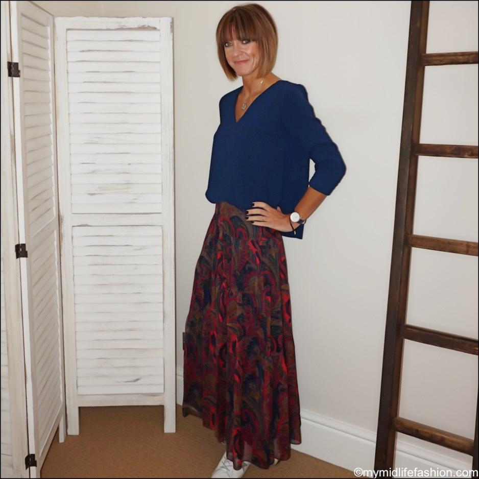 my midlife fashion, sezane top, Lauren Ralph Lauren Paulding peasant skirt, golden goose superstar low top leather trainers