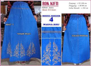 Rok jeans dengan hiasan bordir cantik - kifti model 4 motif 1