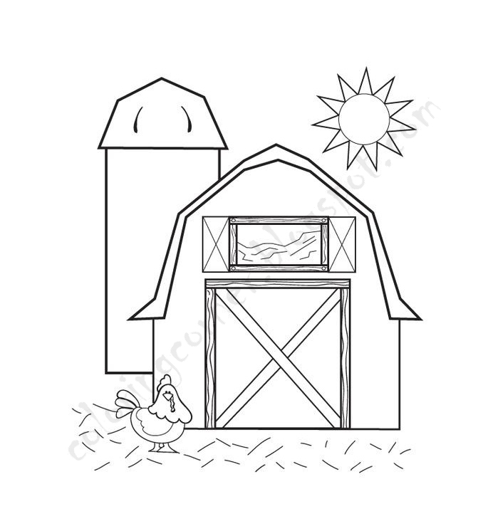 It is a picture of Handy Barn Coloring Sheet