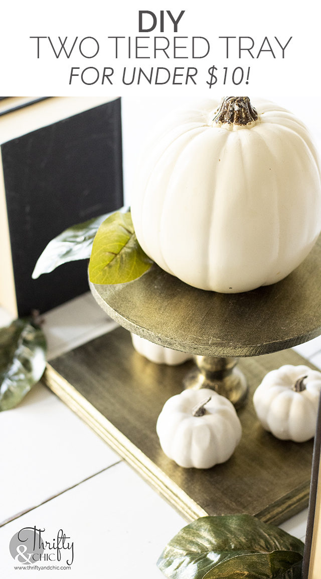DIY two tiered tray. Fall to halloween tablescape. Fall tray decor. Halloween tray decor. Gold plated two tiered tray tutorial.
