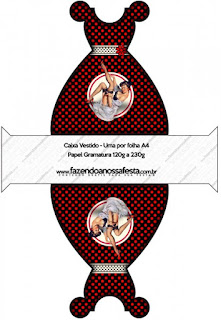 Pin Up in Black with Red Polka Dots Free Printable Dress Box.