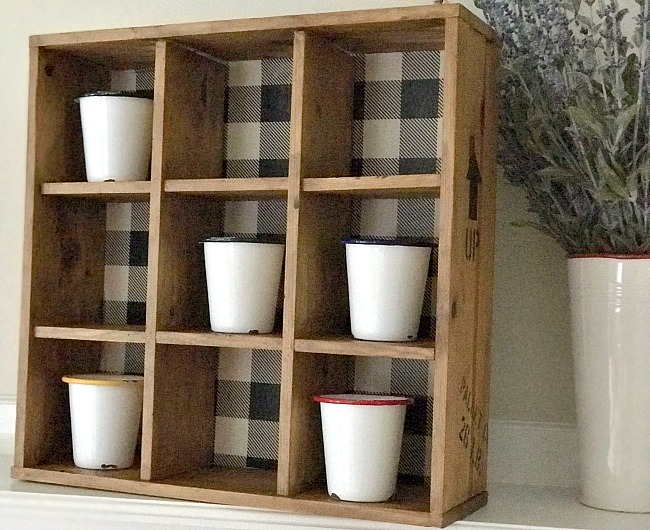 Buffalo check stenciled cubbie shelf