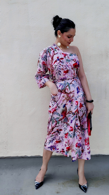 one shoulder dress, kimono dress, floral dress, how to style a kimono, date night outfit, styling over buying