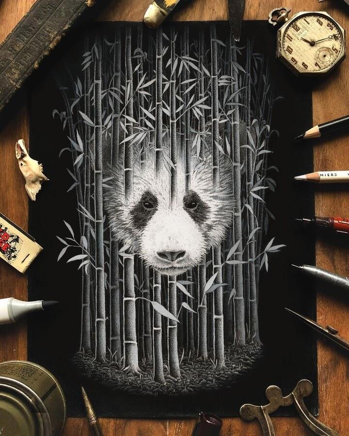 10-Panda-in-a-bamboo-forest-Nicholas-Baker-www-designstack-co