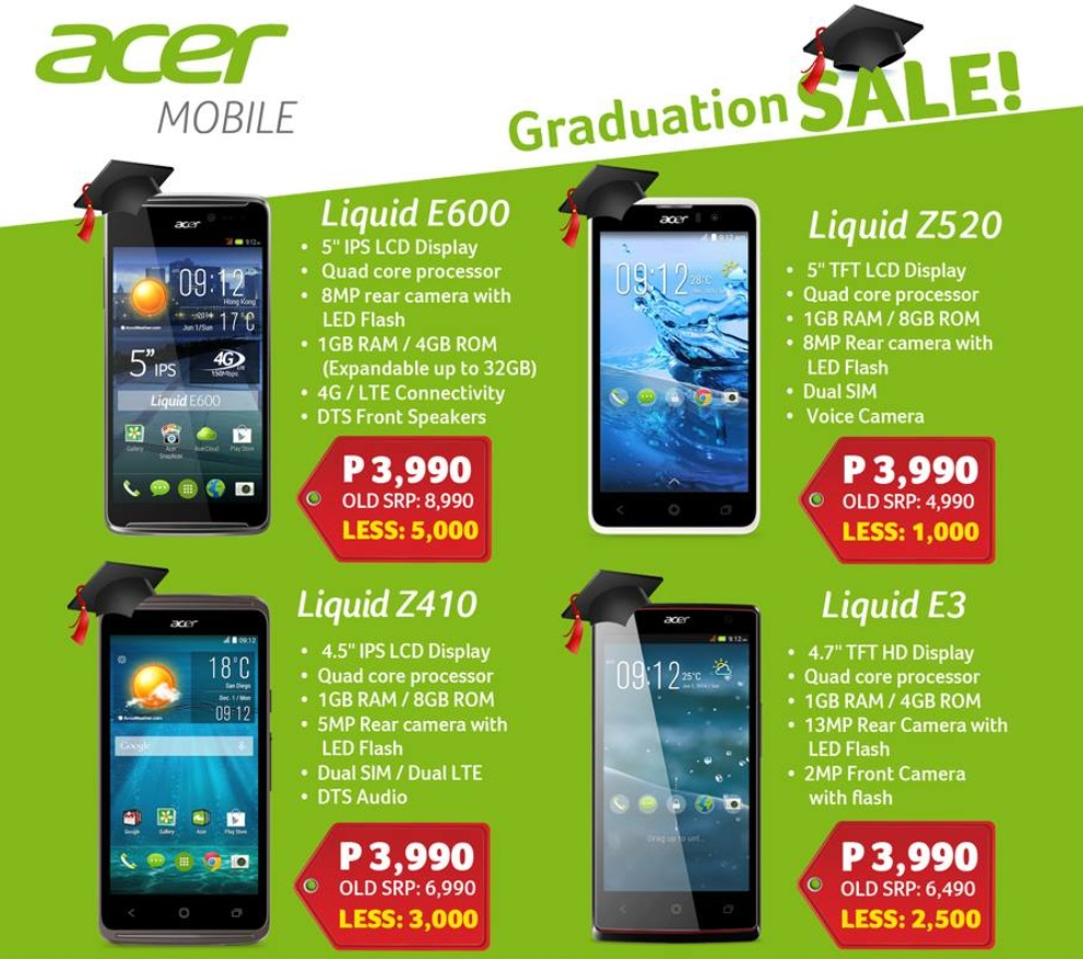 bcb15145864 Acer smartphones with promo price of Php3