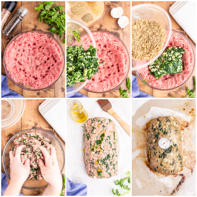 Six photos of the process of making Keto Greek Style Meatloaf.