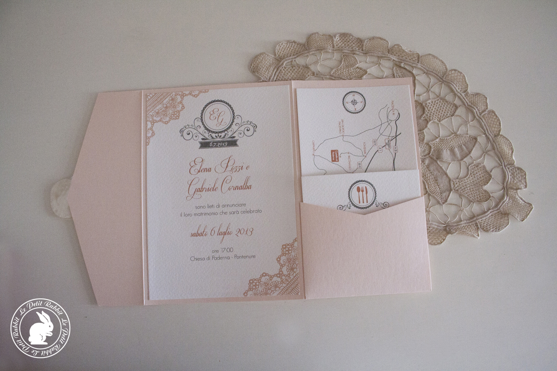 Favorito Partecipazione matrimonio pizzo rosa XE43