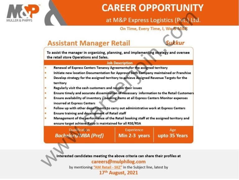 Muller & Phipps Express Logistics Jobs Assistant Manager Retail: