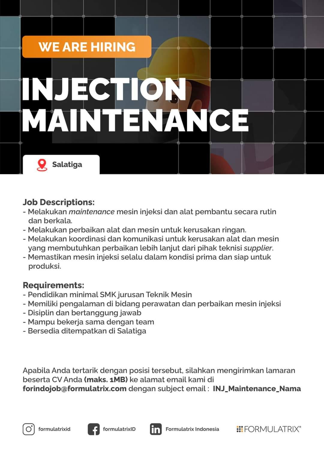 Lowongan Salatiga & Semarang Formulatrix Indonesia Untuk Posisi Toolpather & Injection Maintenance
