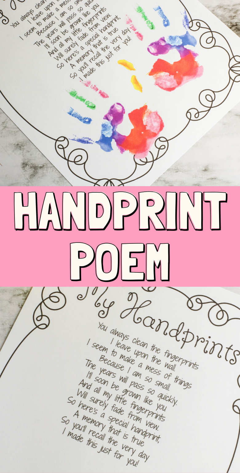 Handprint Poem Printable. Hands poem for parents, Mother's Day handprint poem, little hands quote.