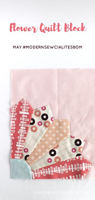 Flower Quilt Block | May Modern Sewcialites BOM | Shannon Fraser Designs #modernquilting #flowerquiltblock #modernpatchwork #modernsewcialitesBOM