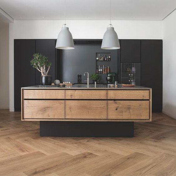 Dark Wood Herringbone Floor