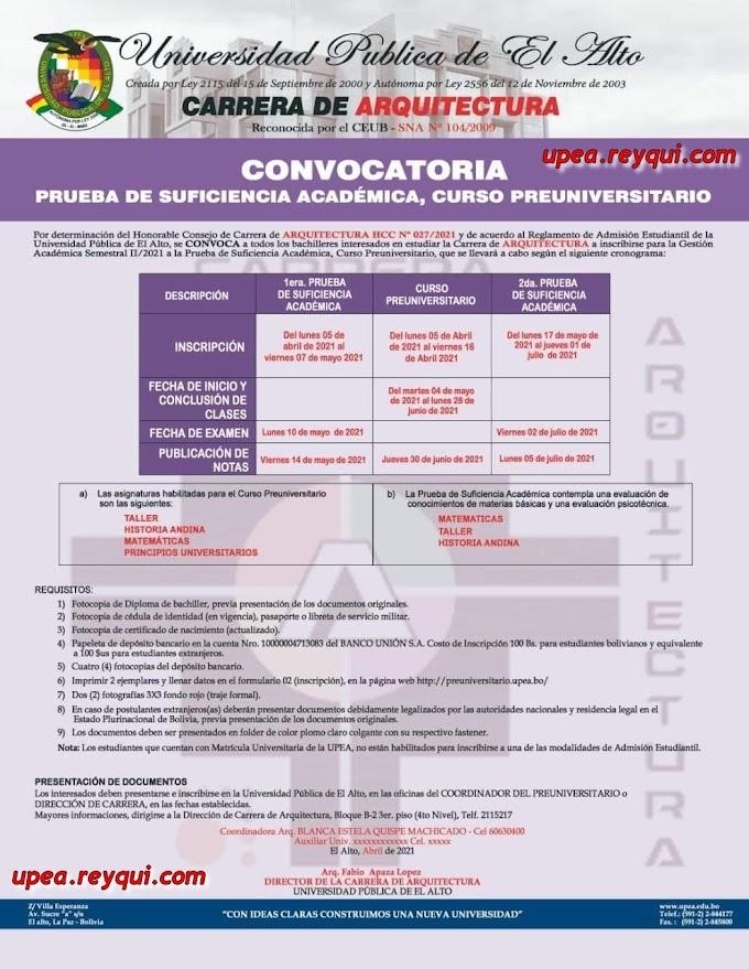 Arquitectura UPEA II/2021: Convocatoria a la Prueba de Suficiencia Académica y Curso Preuniversitario
