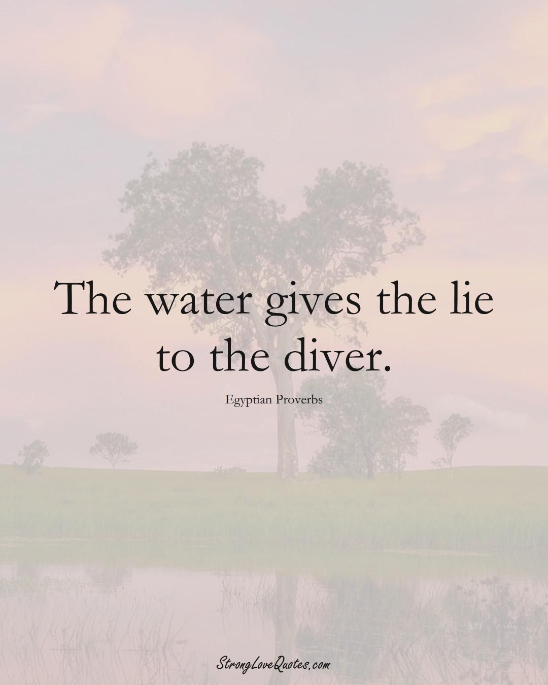 The water gives the lie to the diver. (Egyptian Sayings);  #MiddleEasternSayings