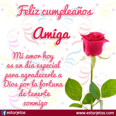 flor rosa cumpleaños amiga