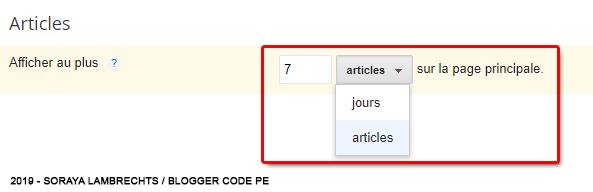 Régler le nombre d'articles sur la page d'accueil et les pages suivantes.