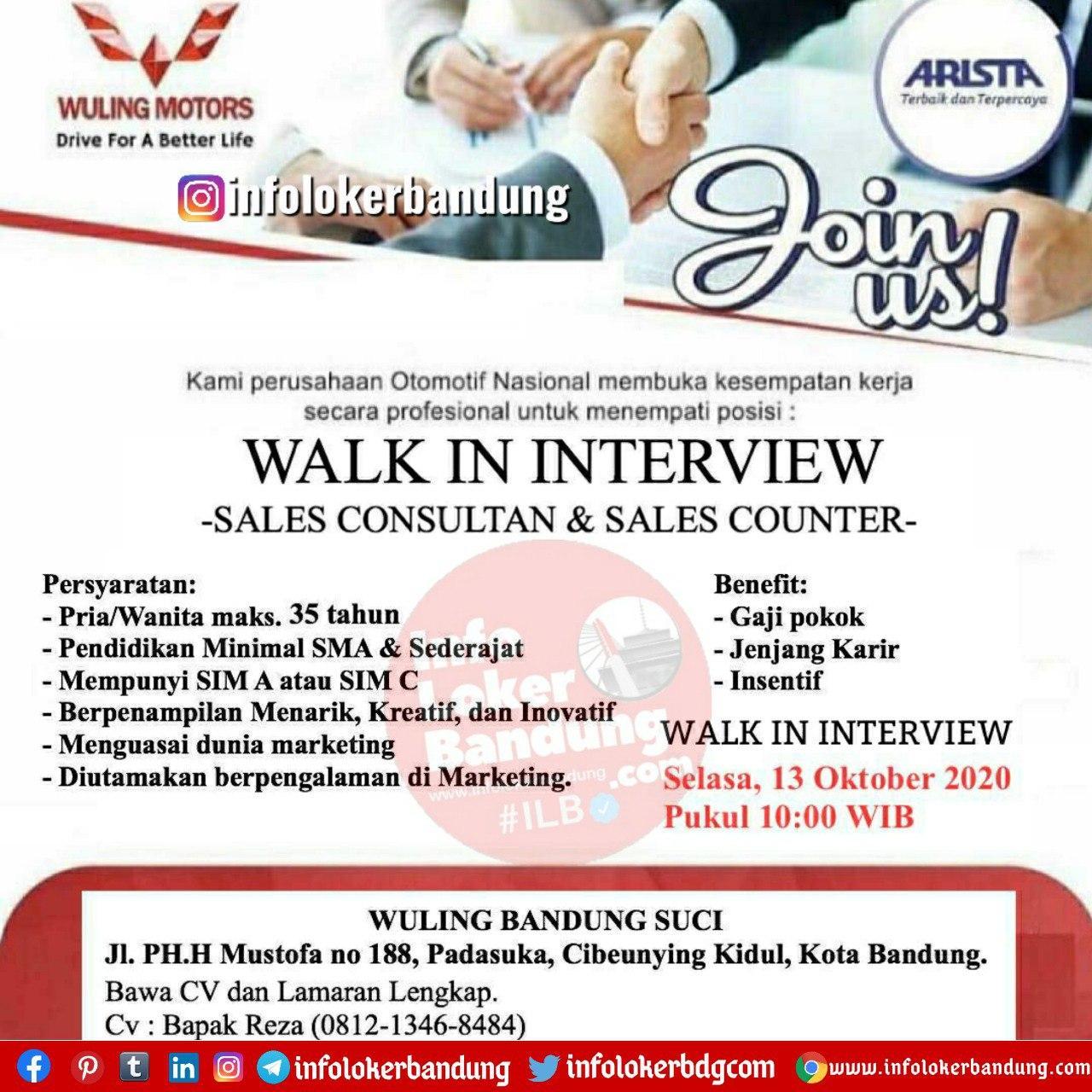 Walk In Interview Wuling Bandung Suci Selasa 13 Oktober 2020