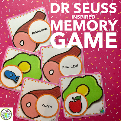 Dr Seuss Inspired Memory Game in Spanish