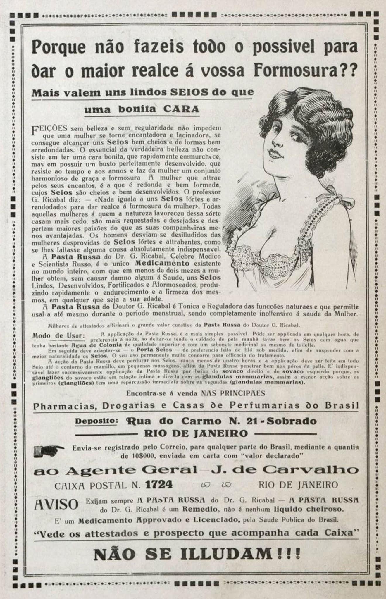 Propaganda antiga da Pasta Russa veiculada em 1919 para rejuvenescimento dos seios