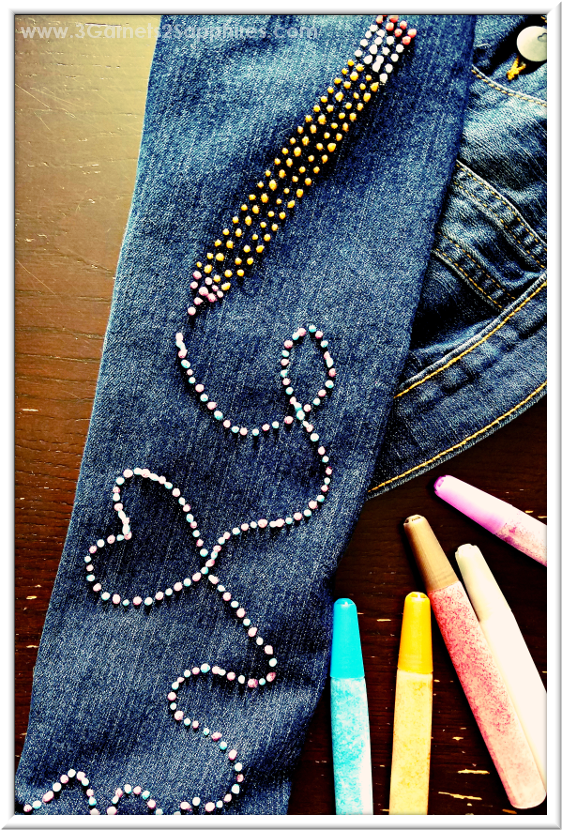 How to create a pencil and a doodle with Glitter Fabric Paint on denim  |  3 Garnets & 2 Sapphires