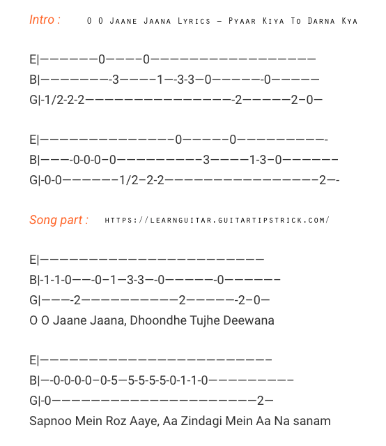 O O Jaane Jaana Free Guitar Tabs – Pyaar Kiya To Darna Kya (Salman Khan) Hindi Songs Guitar Tabs / Lead - Best of Bollywood    o o jane jana guitar tabs single string,o o jaane jaana guitar tabs download,o o jane jana guitar chords, o o jaane jaana guitar tune,oo jaane jaana guitar tabs ringtone download,o o jane jana guitar ringtone download pagalworld,o o jaane jaana piano notes,o o jaane jaana ringtone download,