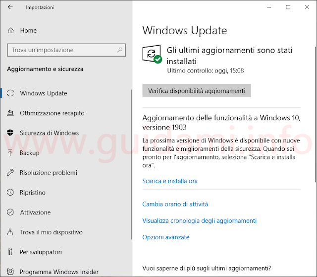 Schermata Windows Update Windows 10