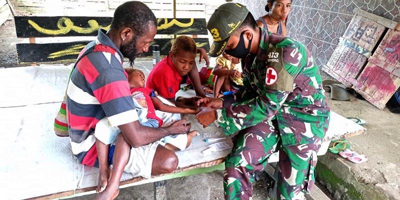 Miris! Dua Anak Papua Berobat di Pos Satgas Perbatasan Papua Nugini Tanpa Peralatan Medis Memadai