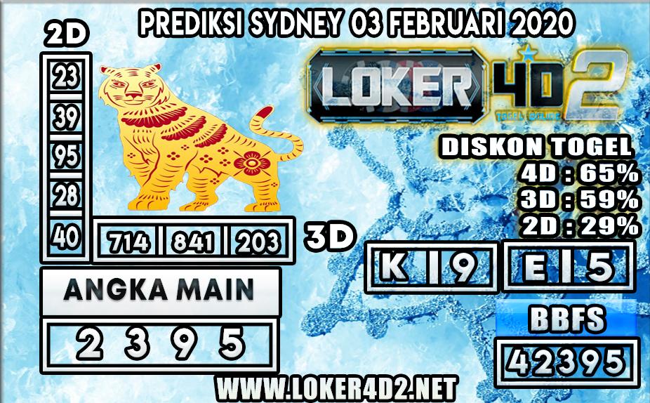 PREDIKSI TOGEL SYDNEY LOKER4D2 03 FEBRUARI 2020