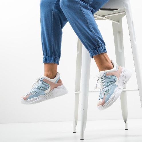 Pantofi sport de femei la moda albastri cu alb cu talpa masiva