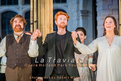 Verdi: La Traviata - Stephen Aviss, Harry Sever, Alison Langer - Opera Holland Park Young Artists (Photo Bob Workman)