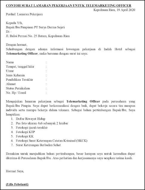 Contoh Surat Lamaran Pekerjaan Untuk Layanan Perlindungan Tanpakoma
