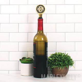 Monogrammed Leopard Wine Stopper