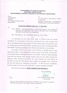 Financial assistance to eco club schools - with hold of RS 2500/- from out of RS 5000/- released to each Each Eco club - Regarding.