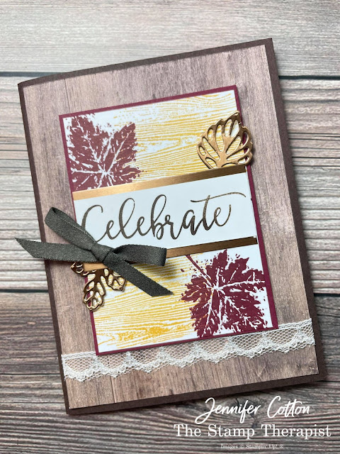 Fall Card: Stampin' Up! Gorgeous Leaves Bundle and Create with Friends set.  I alsu used the In Good Taste DSP, Brushed Metallic Cardstock, and more!  Supply List, Video, and Measurements on the blog!  #StampinUp #StampTherapist #GorgeousLeaves #CreateWithFriends