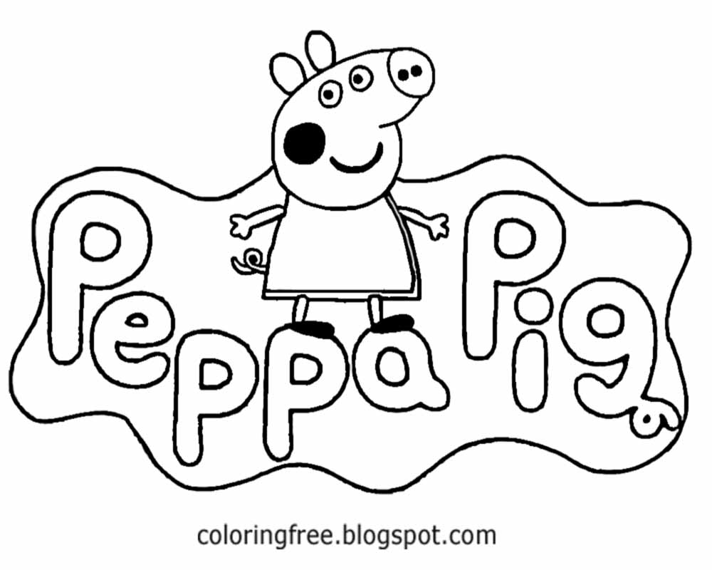 english childrens tv cartoon logo cute peppa pig printable easy coloring pages for kids to color - February Coloring Pages