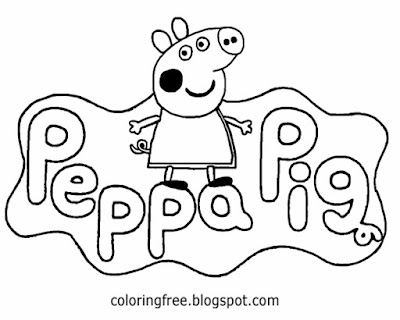 English childrens TV cartoon logo cute Peppa pig printable easy coloring pages for kids to color in