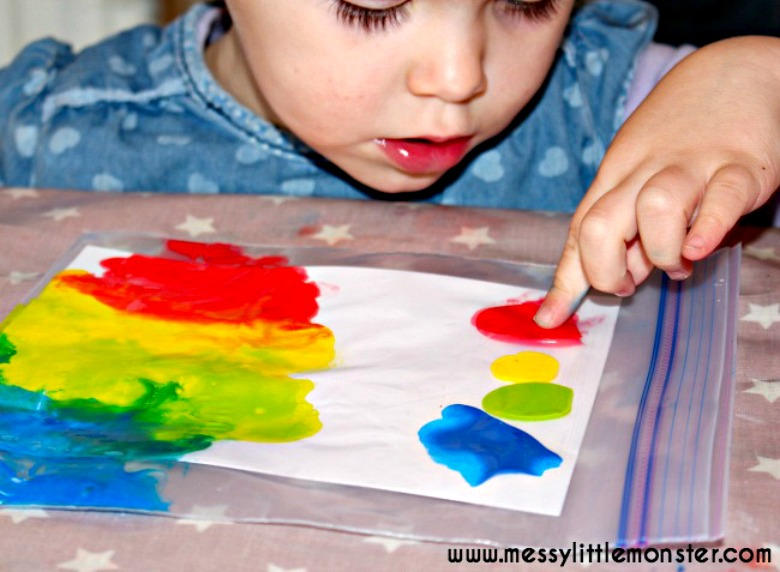 mess free painting process art for toddlers