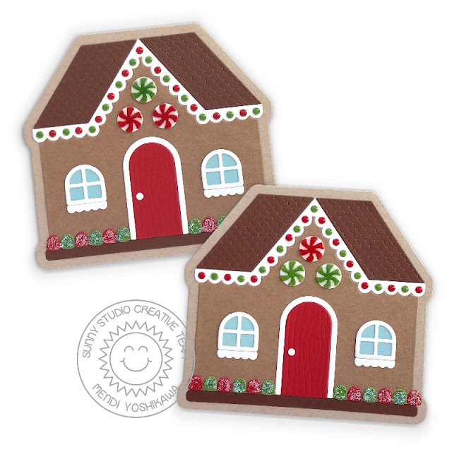 Sunny Studio Stamps Shaped Christmas Card using Gingerbread House Dies)