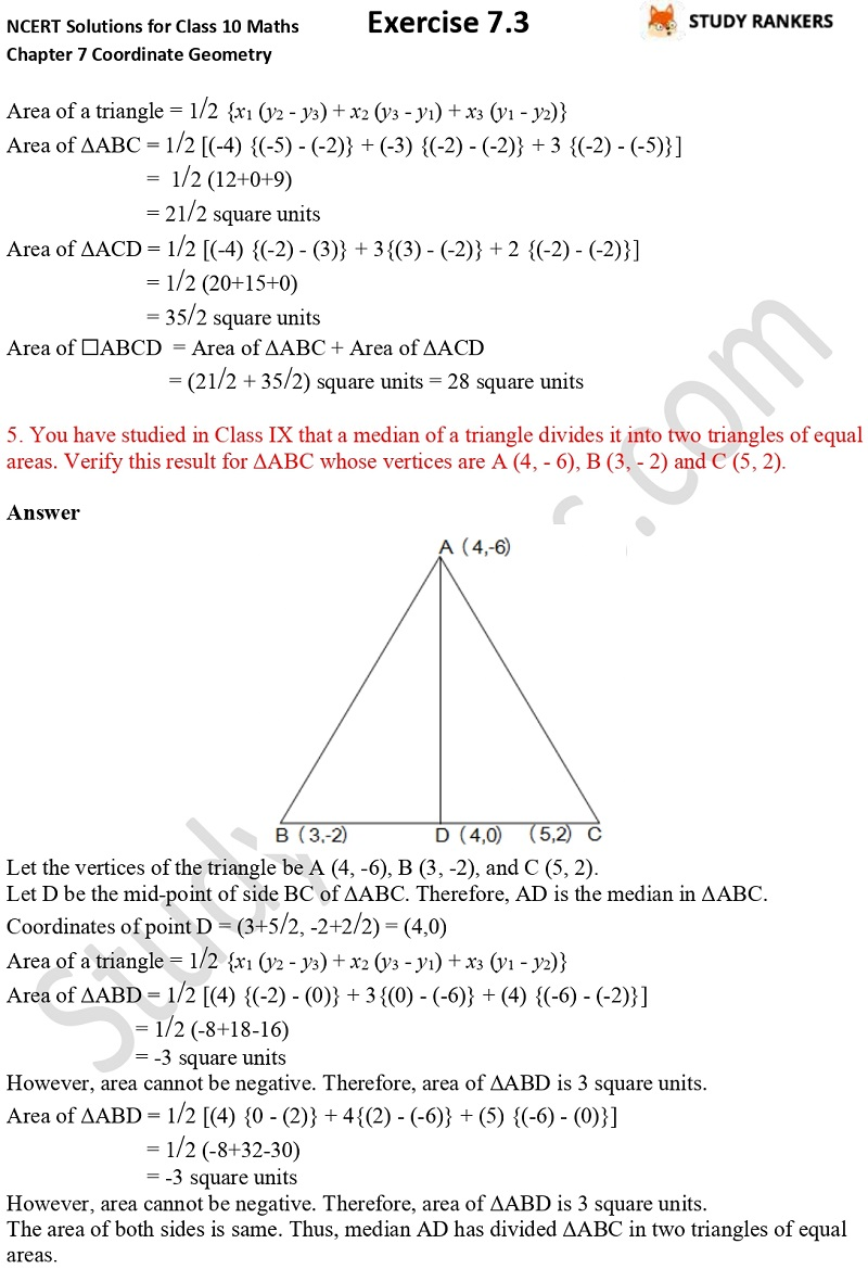 NCERT Solutions for Class 10 Maths Chapter 7 Coordinate Geometry Exercise 7.3 Part 3
