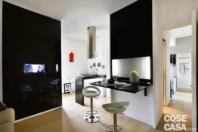 Amenajare modernă, în alb și negru pentru un apartament de 39 m² din Milano
