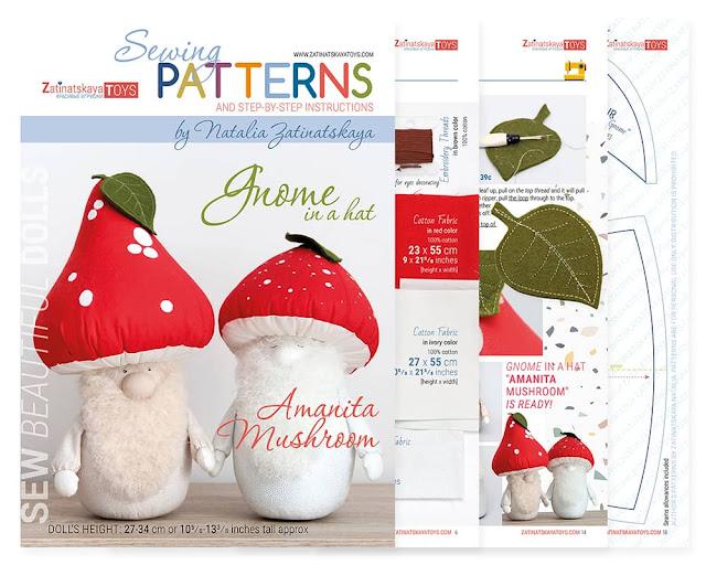 cover and sheets of PDF Mushroom Christmas gnomes with sewing patterns by Zatinatskaya Natalia