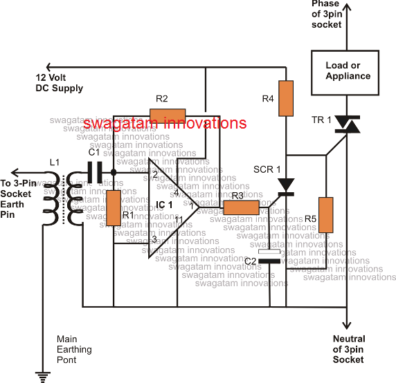 simple ELCB circuit with triac solid state version